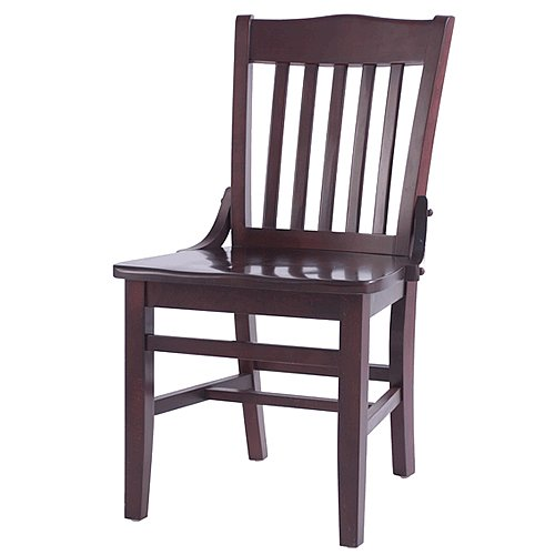 "Oak Street CW-554-MH School House Solid Wood Dining Chair with Mahogany Wood Seat, 35.875"" Height x 16.25"" Width x 19.25"" Depth"
