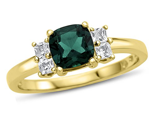 Finejewelers 6x6mm Cushion Created Emerald and White Topaz Ring 10 kt Yellow Gold Size 8