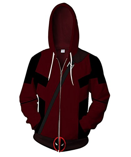 Super Creative Halloween Costumes (Super Hero Dead Cosplay Pool Wade Costume Autumn and Winter Hoodie Creative Sweater For Halloween (S,)