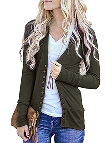 051f7cac8 Women s V-Neck Solid Solid Button Down Knitwear Soft Basic Long Sleeve Knit  Snap Cardigan