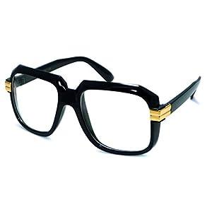 HIP Hop Rapper Retro Large Oversized Clear Lens Eye Glasses (Black/Gold)