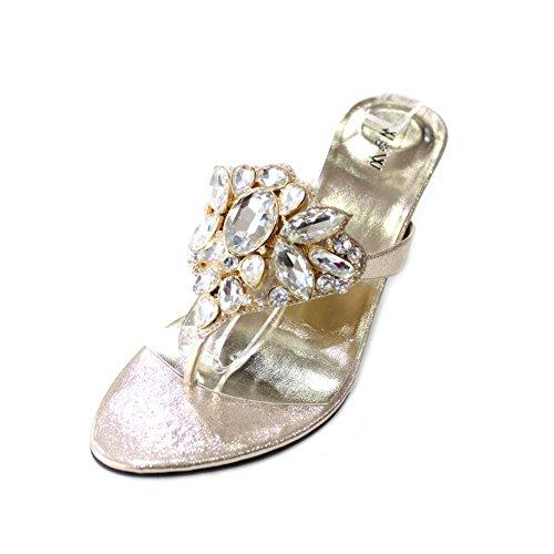 Bloc Enfiler Chaussures nbsp; À Moyenne Sandale Confort Doré Talon De Fête Diamante Mariage W Mesdames noir Femmes amp; Soirée Taille 4–10 Una6Y