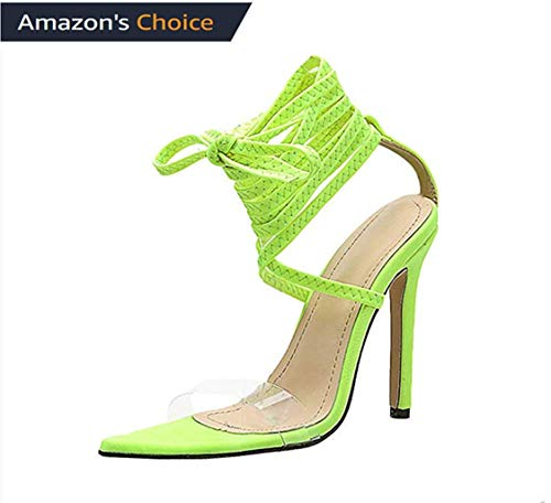 (MmNote Women Shoes, Womens Clear Durable Stilettos Chunky Heel Ankle-Strap Adjustable Sandals Shoes Green)