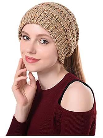 Nhmpretty Women Winter Warm Soft High Bun Ponytail Beanie