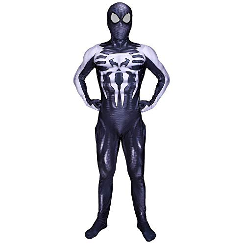 Black Venom Movie Spiderman Costume Halloween Siamese Tights Cosplay Theme Party Clothes,Black-XL -