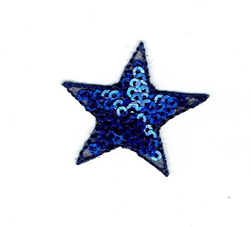 Sequin Star - BLUE - Iron on Applique/Embroidered Patch