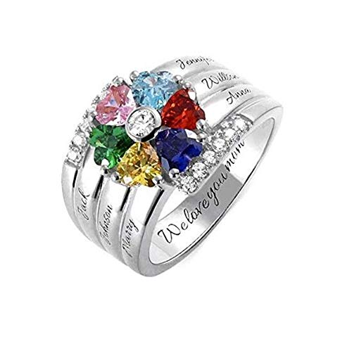 Custom Name Rings with 6 Children Simulated Birthstones Promise Ring for Her Personalize Rings