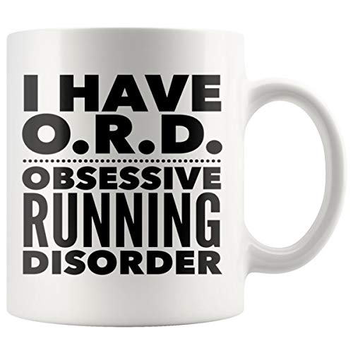 ArtsyMod ORD OBSESSIVE RUNNING DISORDER Typography Premium Coffee Mug, PERFECT FUN GIFT for the Runner, Marathon, Triathlon, Ironman Lover! Attractive Durable White Ceramic Mug (11oz, Black - Dominoes Quartz