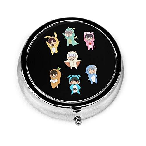 BTS Personalized Design New Silver Round Pill Box Decorative Three-Compartment Pill Box/Pill case