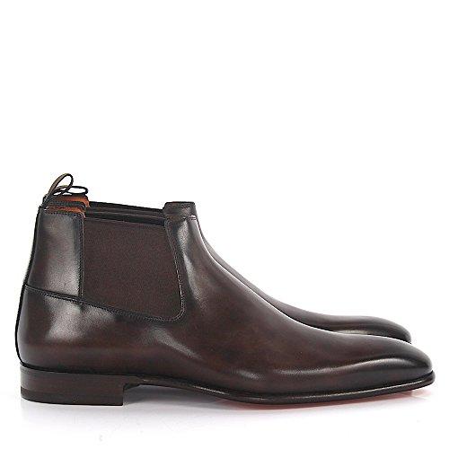 15238 Santoni Boots Leder braun Cut Mid Chelsea Herren qXrwFx1Xz