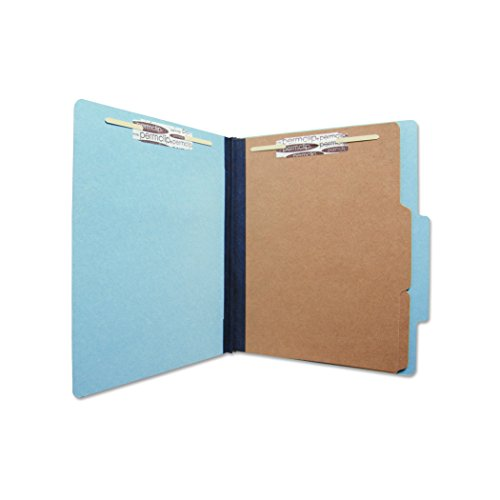 Colored Classification Folder - AMZfiling Colored Pressboard Classification Folder with 6 Sections- Blue, Letter Size, Top Tab (15/Box)