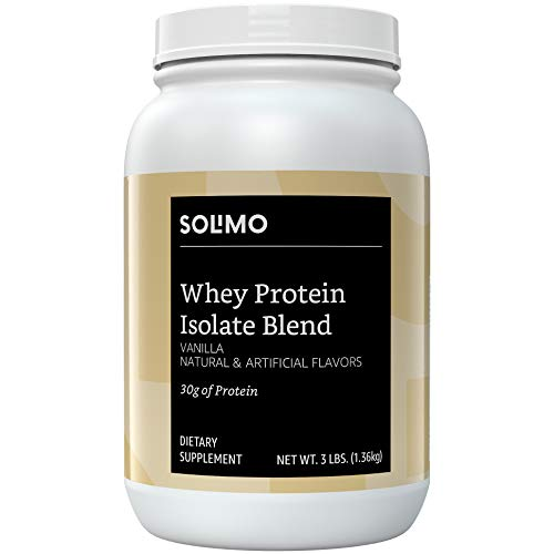Amazon Brand - Solimo Whey Protein Isolate Blend, Vanilla, 3 Pound Value Size (35 Servings) (Best Value Whey Protein)