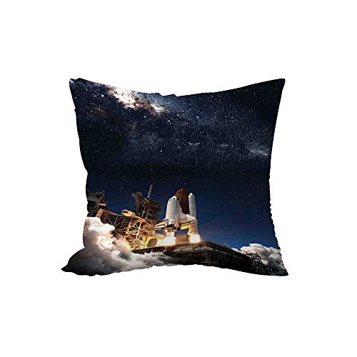 Polyester Throw Pillow Cushion,Galaxy,Shuttle on Take Off Discovery Mission to Explore Galaxy Spaceship Solar Adventure,Blue White,15.7x15.7Inches,for Sofa Bedroom Car Decorate -