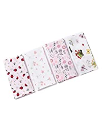 Houlife 4/8 PCs 100% 60S Combed Cotton Floral Handkerchief Elegant Hairband Hankies, 17.7×17.7''