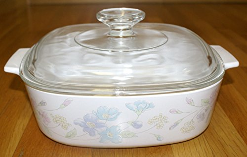 Vtg Corning Ware ''Pastel Bouquet'' (2 qt) Casserole Baking Dish with Lid (A-2-B) by Corning
