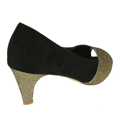 Mujer Señoras Casual Sparkly Peep Toe Tacón de gatito Noche Boda Fiesta Formal Noche fuera Nupcial Sandalias Zapatos Talla Negro