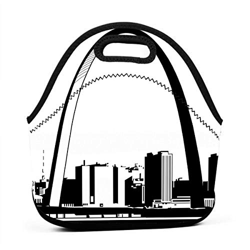 (LKJDAD St-Louis-Skyline-Clipart Lunch Bag, Thick Insulated Lunchbox Bags,Tote Box with Zipper Closure for Kid Travel Picnic Office)