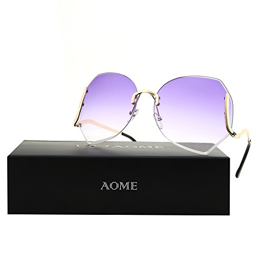 AOME Oversized Rimless Sunglasses,Vintage Gradient Cutting Clear Lens Eyeglasses (Gold&Purple, - Chinese Sunglasses