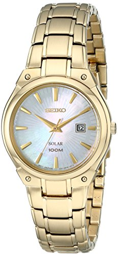 (Seiko Women's SUT130 Solar-Power Gold-Tone Bracelet Watch)