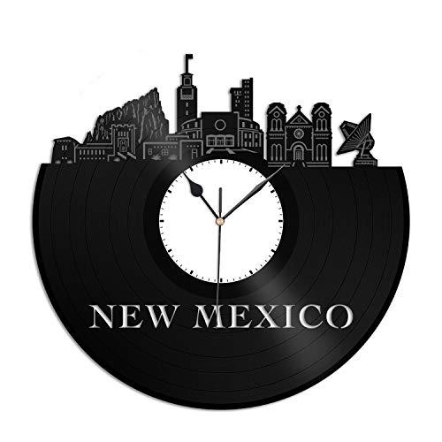 (VinylShopUS - New Mexico Vinyl Wall Clock City Skyline Souvenir Unique Gift Home and Office Room Decoration)