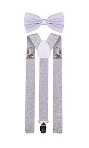 Men Suspenders Bowtie Set Adjustable Pre Tied Bow Ties for Tuxedo Wedding