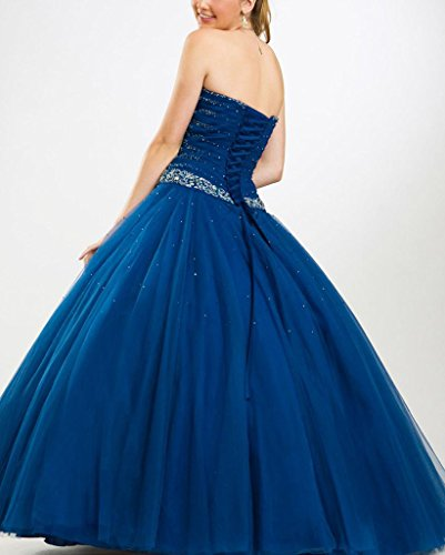 Floor Prom Dresses Quinceanera A Line Royal Corset Sweetheart Length Dearta Blue Women's wzF0fxqnI