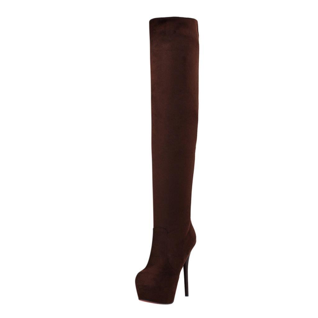 Hee Grand Damen Winter High Heels Overknee Stiefel Damenstiefel Boots Schuhe Braun