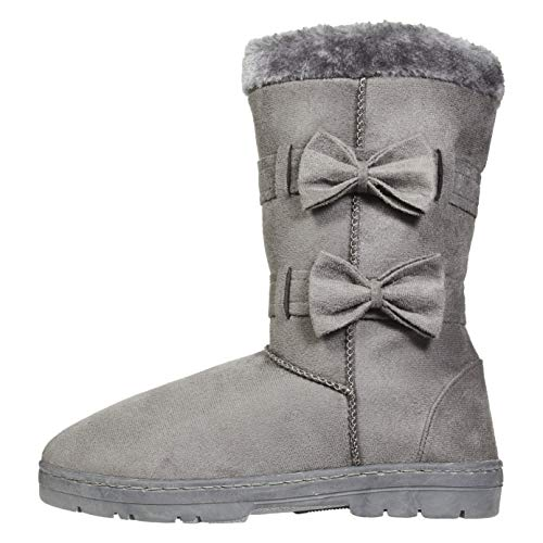 Chatties Women's Winter Boots Size 9-10 with Fur Trims and Bows Casual Mid-Calf Shoes Grey