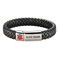 [Engraving] Leather Medical Alert Bracelet - Personalized Medical ID for Men Women Kids Custom Diabetic Alert Bracelet-Black