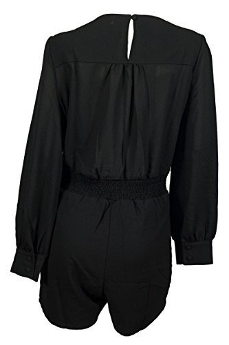 EVogues Plus Size Long Sleeve Romper Black - 1X
