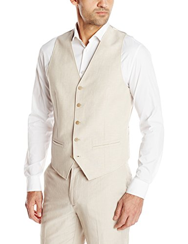 Cubavera Men's Easy Care Linen Blend Vest, Khaki, Large