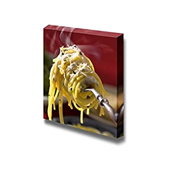 Canvas Wall Art - Fresh Hot Spaghetti with Cheese on Fork with Vapor | Modern Home Art Canvas Prints Gallery Wrap Giclee Printing & Ready to Hang - 12