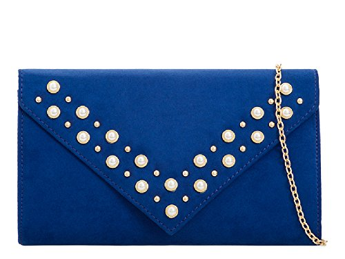 Ladies Women's KL2102 Faux Blue Bag Bridal Royal Purse Handbag Cocktail Suede Clutch Party Pearl rFacaPnA6