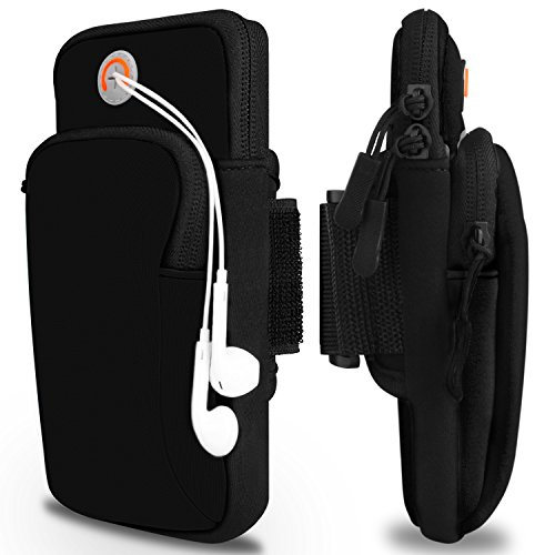 Sports Armband, Venoro Exercise Workout Running Double Pockets Universal Smartphone Waterproof Arm Bag with Earphone Hole for iPhone XR XS X 8 7 6S, Samsung Galaxy S10 S9 Plus S9 S8 S7 Edge(Black)