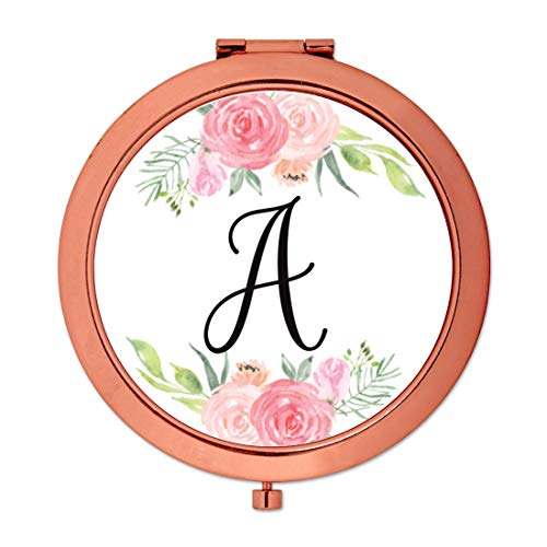 Andaz Press Compact Mirror Bridesmaid's Wedding Gift, Rose Gold, Monogram Letter A, Peach and Pink Roses, 1-Pack, Bachelorette Bridal Shower Wedding Party Gifts