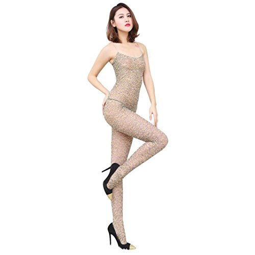 [Coromose Sexy Open Crotch Bodystockings Leopard Print Lingerie Nightwear Costume] (Sexy Leopard Costumes)