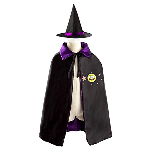 Sponge Bob Kid Halloween Cloak Vampire Cape Witch Hat Cosplay