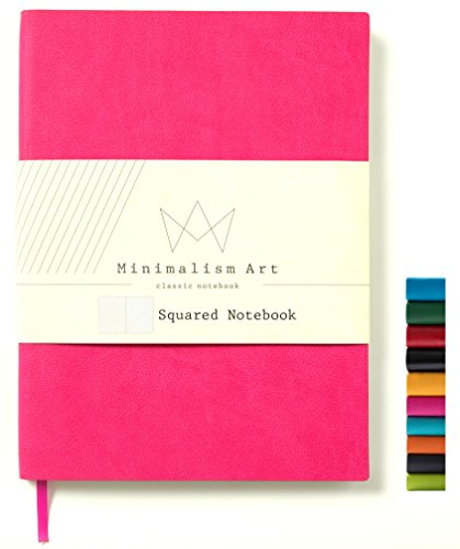 Minimalism Art, Soft Cover Notebook Journal, A5 Size 5.8 X 8.3 inches, Squared Grid Page, 176 Pages, Fine PU Leather, Premium Thick Paper-100gsm,Ribbon Bookmark, Designed in San Francisco (Berry)