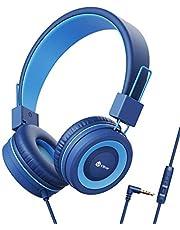 Hoofdtelefoon kinderen, kabel koptelefoon voor kinderen, verstelbare hoofdband, stereogeluid, opvouwbare, ontwarde draden, 3,5 mm Aux Jack, Volume Limited