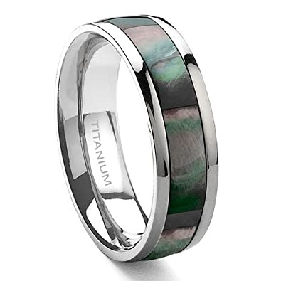 Amazon.com: Titanium Mother of Pearl 6mm Wedding Band Ring Size 6-13 ...