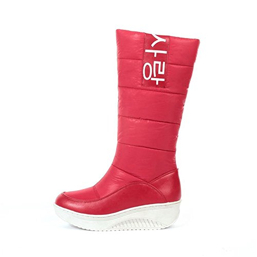 Wedges Shoes Better Boots Slip Snow Red mid Calf Inside 35 Annie Size Fur on Women Sweet Ladies 44 Heels Boots Winter Boots 0zR0rUq