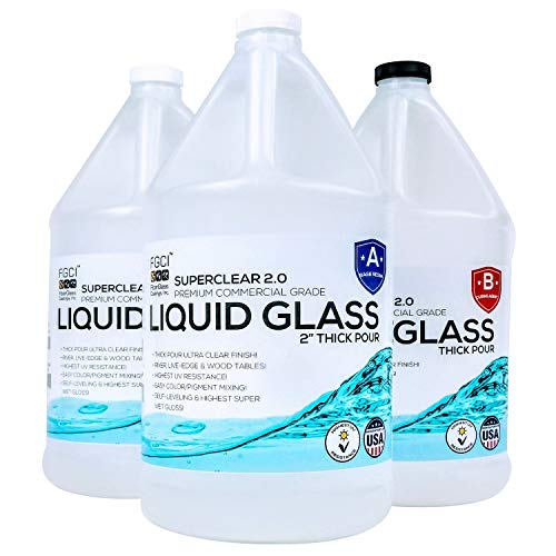 Epoxy Resin Crystal Clear Liquid Glass 2 to 4 inch Thick Pour - 3 Gallon Kit