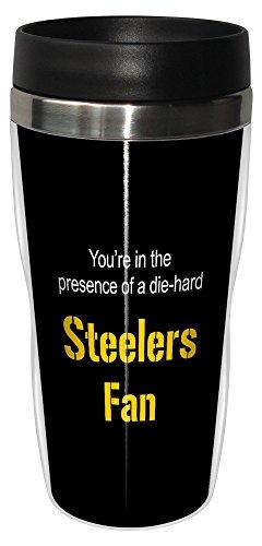 Tree-Free Greetings sg24132 Steelers Football Fan Sip 'N Go Stainless Steel Lined Travel Tumbler, 16-Ounce (Pittsburgh Steelers Travel Mug)