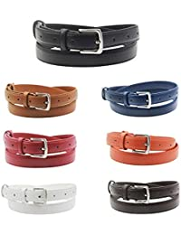 Womens Skinny Leather Belt Solid Color Pin Buckle Simple Waist Belts Packing Christmas