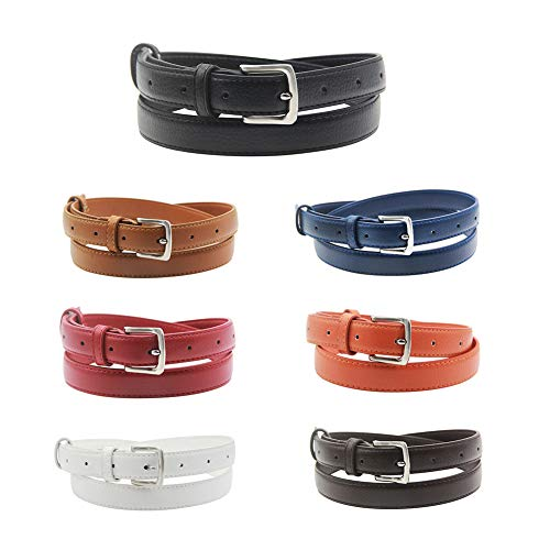 Womens Belt Skinny Leather Solid Color Pin Buckle Simple Waist Packing for Girls Ladies (Wear Cinch Belt)