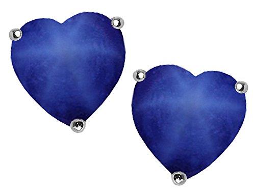 - Star K 7mm Heart Shape Created Star Sapphire Earrings Studs Sterling Silver