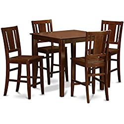 East West Furniture VNBU5-MAH-W 5-Piece Counter Height Dining Table Set, Mahogany Finish