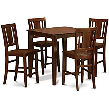 east west furniture vnbu5mahw 5piece counter height dining table set mahogany finish
