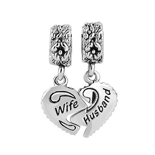 Price comparison product image LuckyJewelry Wife Husband Heart Charms Dangle Bead Set Sale For Pandora / Troll / Chamilia Charm Bracelet