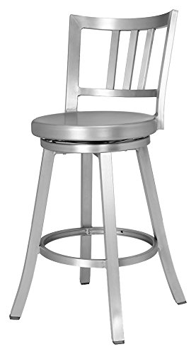 CHAIR DEPOTS Atlantic Aluminum Swivel Counter Stool, Brushed Aluminum finish. by CHAIR DEPOTS